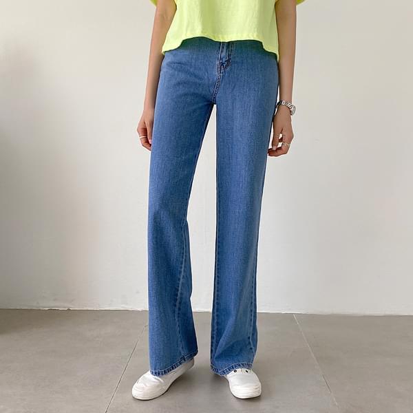 High Straight Fit Denim Pants #75778