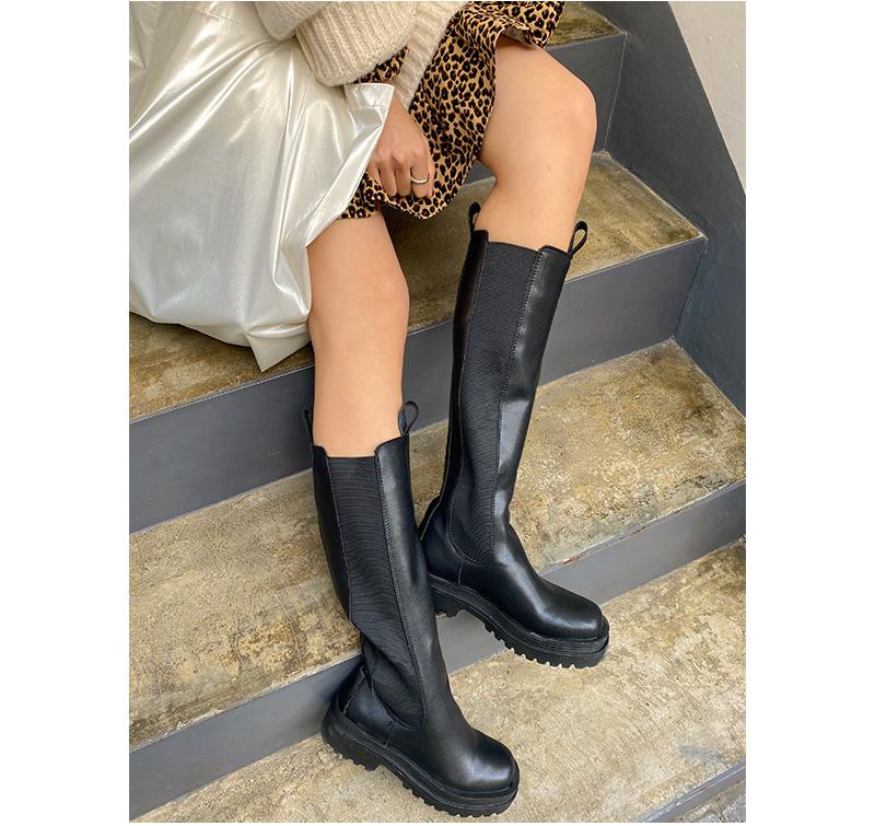 Plain Chelsea Banding Long Boots