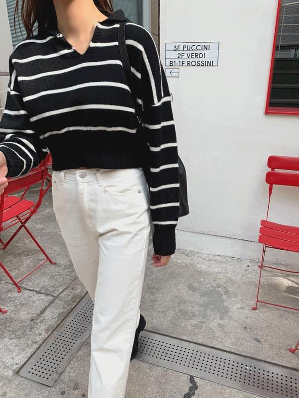 Stripe Collar Knit