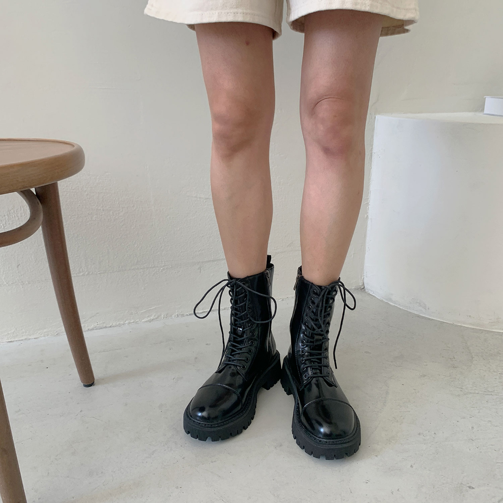 Side zipper lace-up walker boots 4.5cm