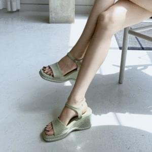Whole heel wedge heel strap sandals 6cm