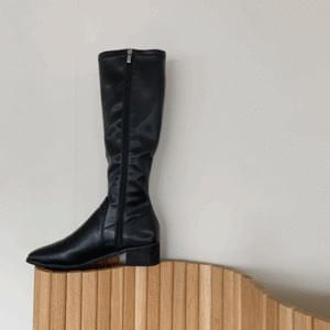 Square middle heel basic long boots 4cm