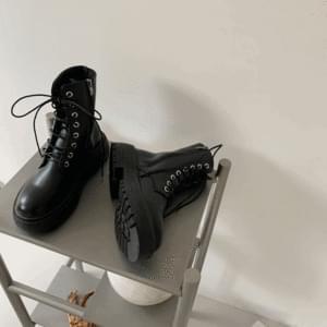 Lace-up heel side zip middle walker 4cm