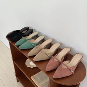 韓國空運 - Suede stiletto strap blower 樂福鞋