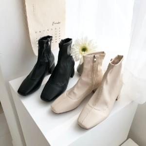 Suede Leather Span Ankle Boots 5cm