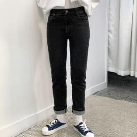 Black Blue Slim Straight Banding Pants 長褲