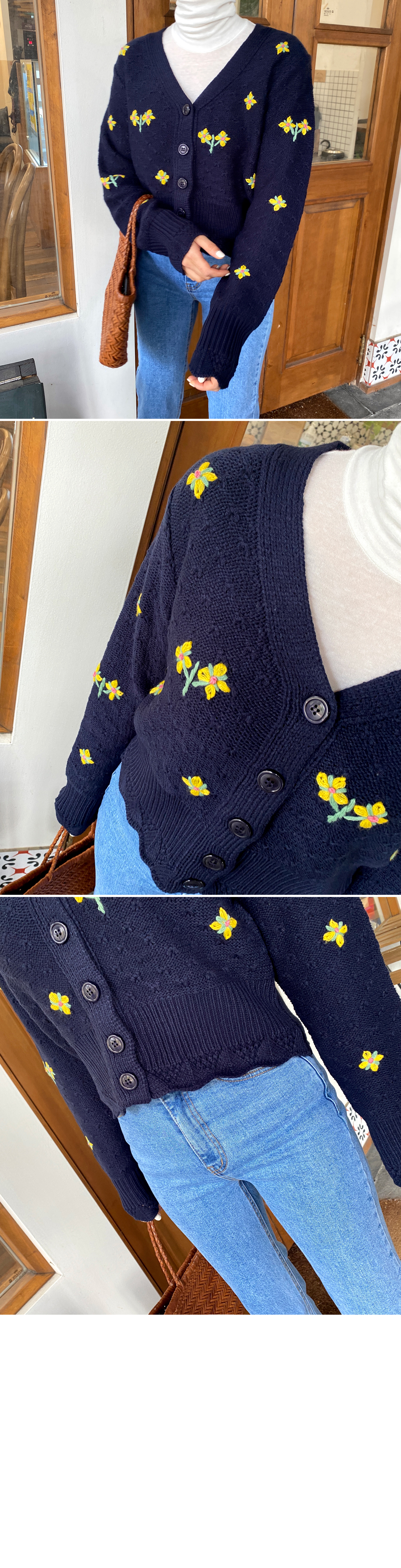 Flower embroidered mini cardigan