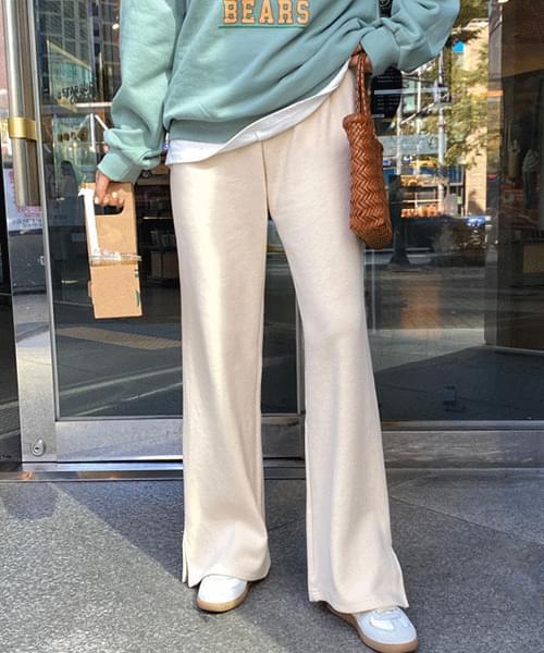 Side Split Knit Wide Banding Long Pants