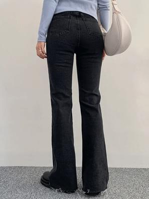 Black Cut Boots Cut Denim Pants