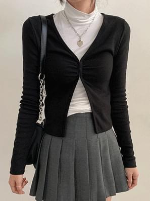 Hook Shirring Open Cardigan