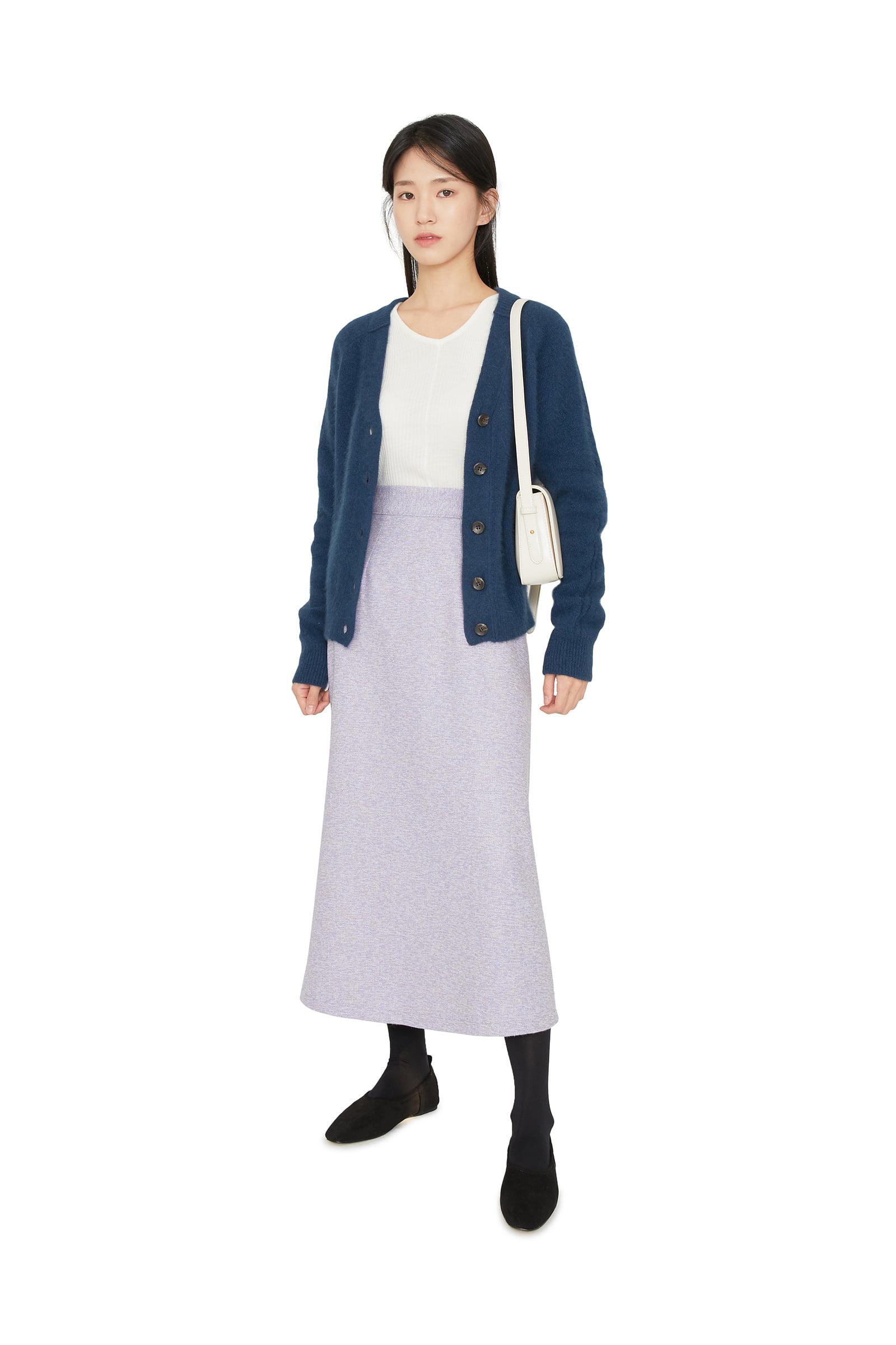 Boucle A-line maxi skirt