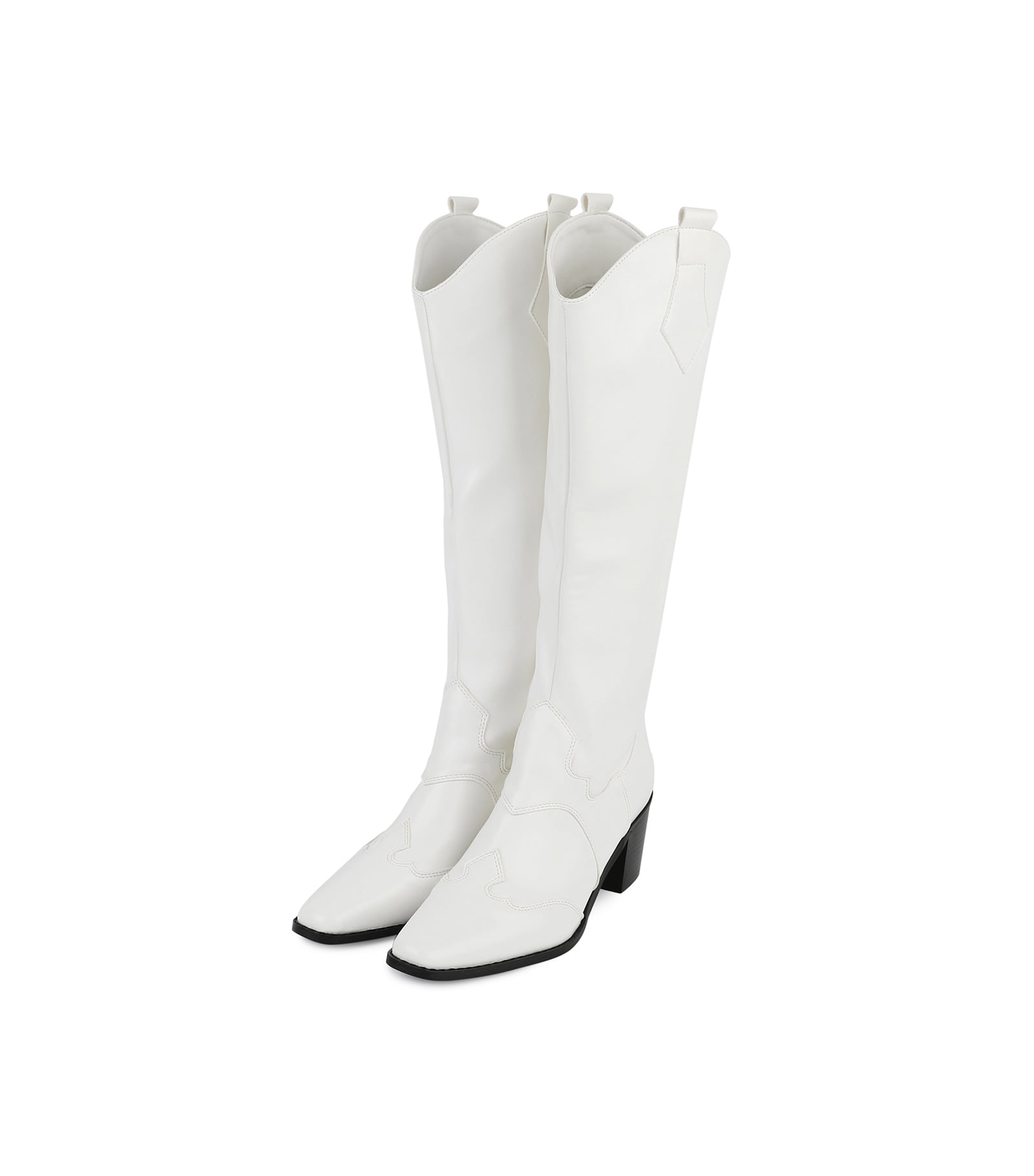 Mid western middle heel long boots
