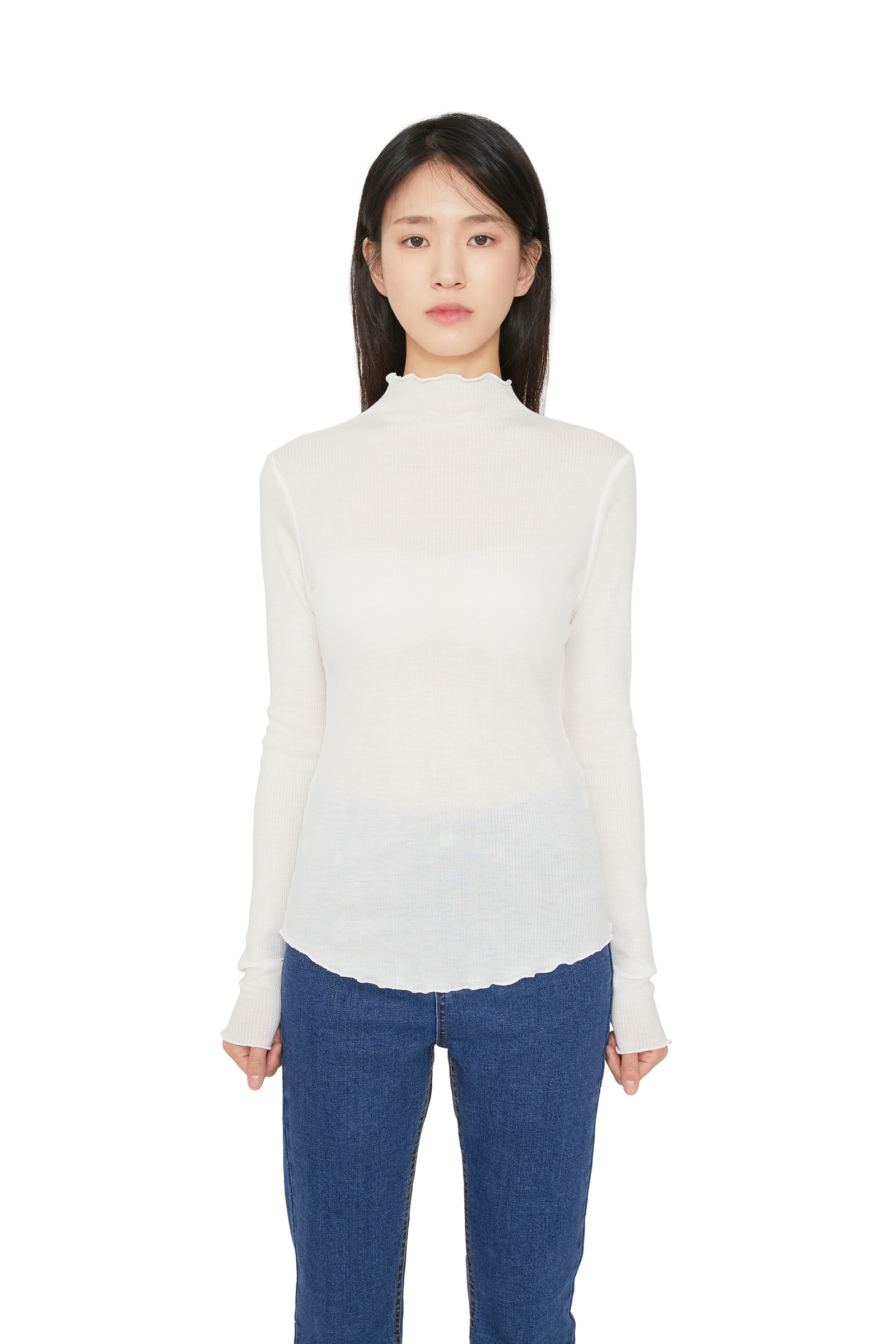 Marie wave ribbed top