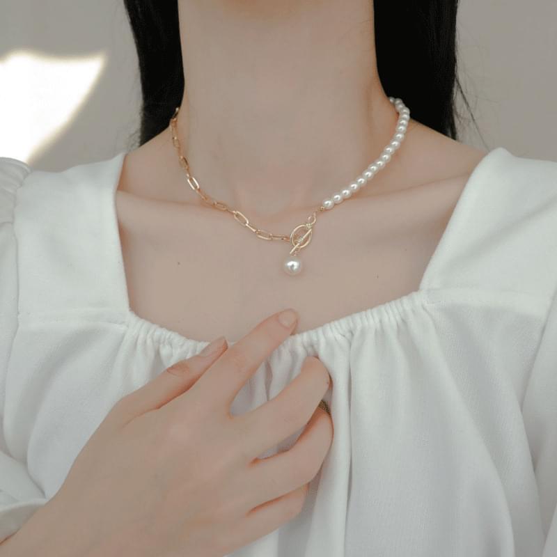 Half Pearl Chain Chain Choker Necklace