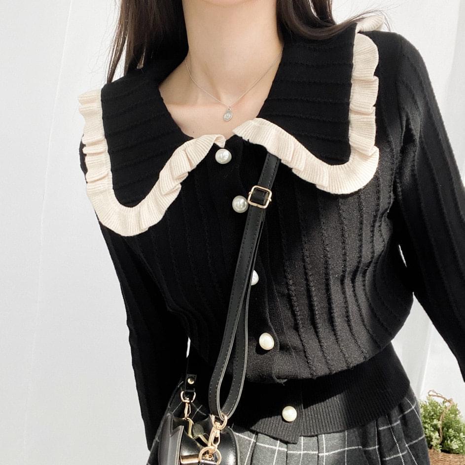 Pearl frill collar knit cardigan