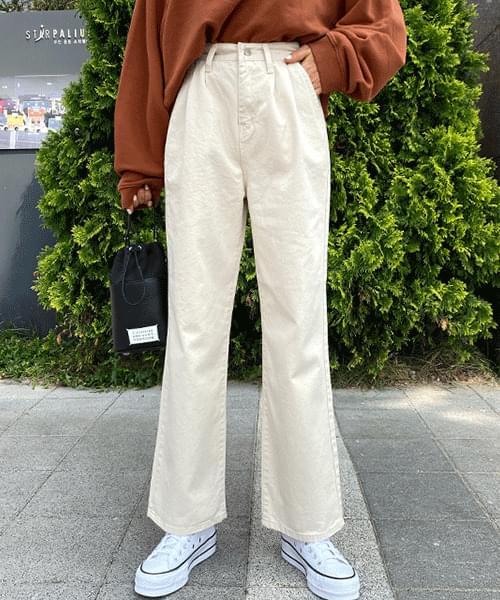 Pintuck Natural Long Wide Pants
