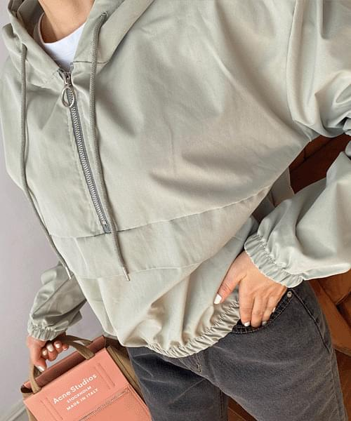 Cropped anorak hooded jumper