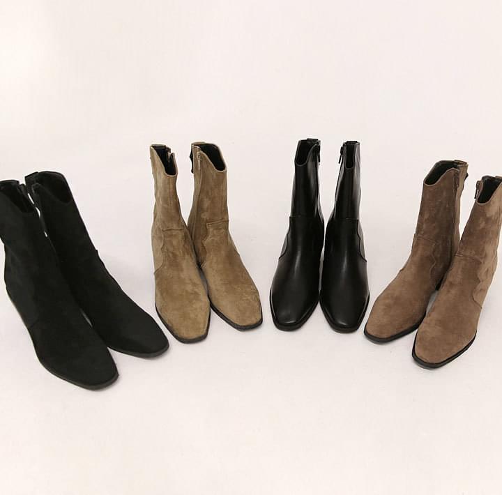 西部牛仔粗跟仿皮短靴