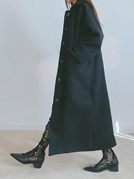 Wool single prim long coat