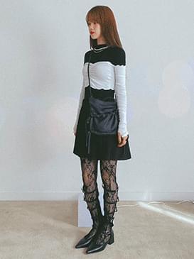 Pleated terry mini skirt