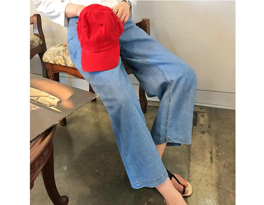 Summer blue wide denim pants_B