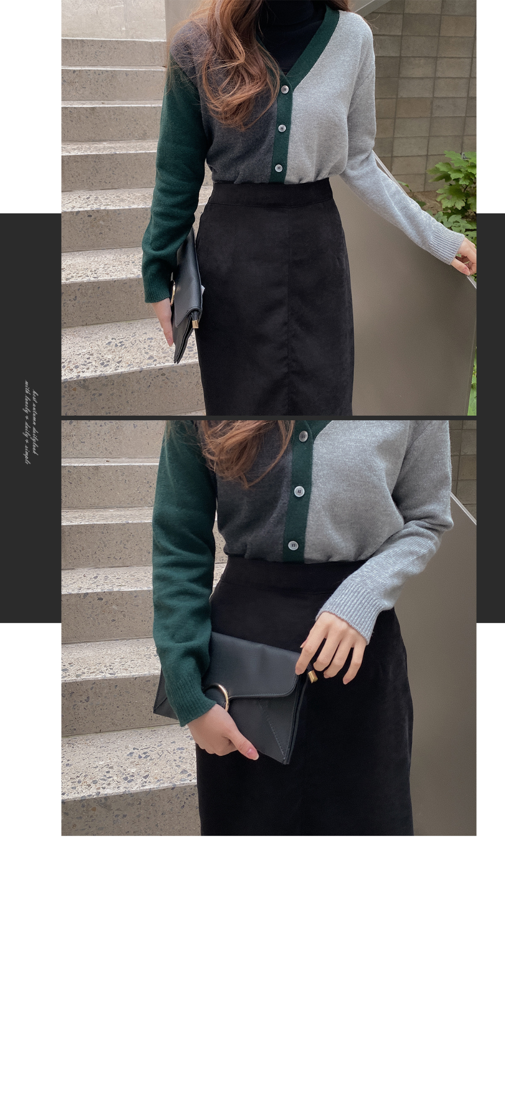 V-neck color wool cardigan-wool 50