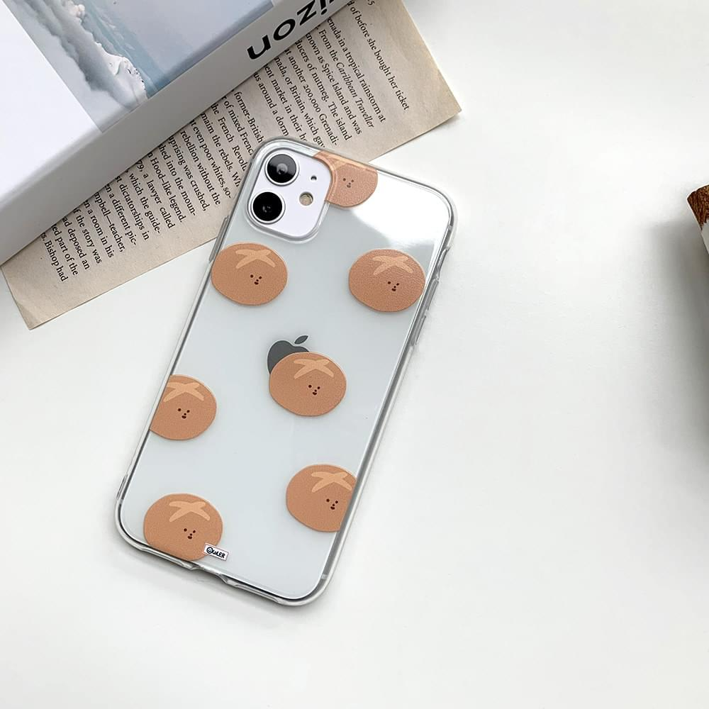 Mini Bread Pattern Transparent iPhone Case