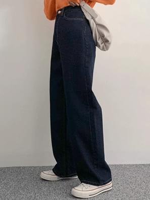 Dark fabric denim wide pants
