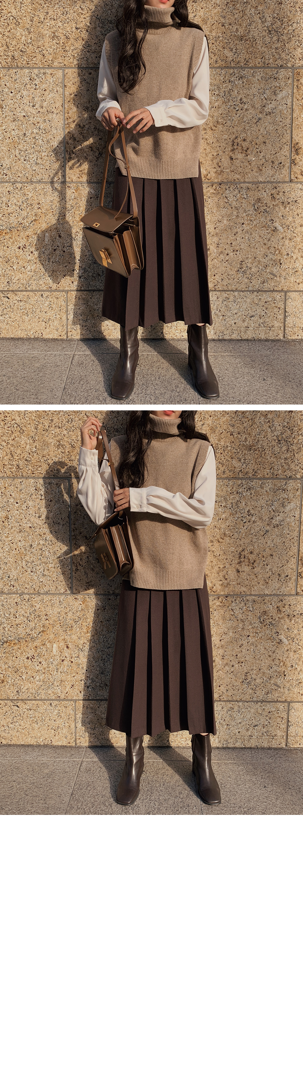 Front wool pleated skirt