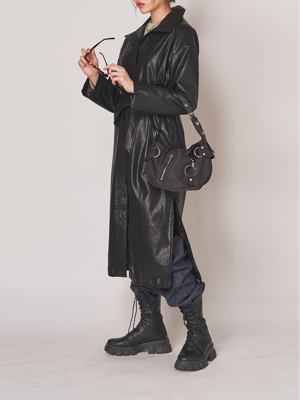 Leather belted long jacket