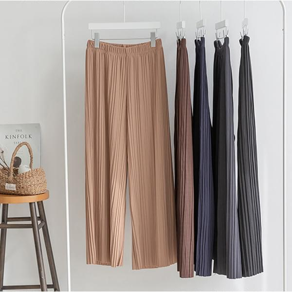 Pleats wide banding pants #75466