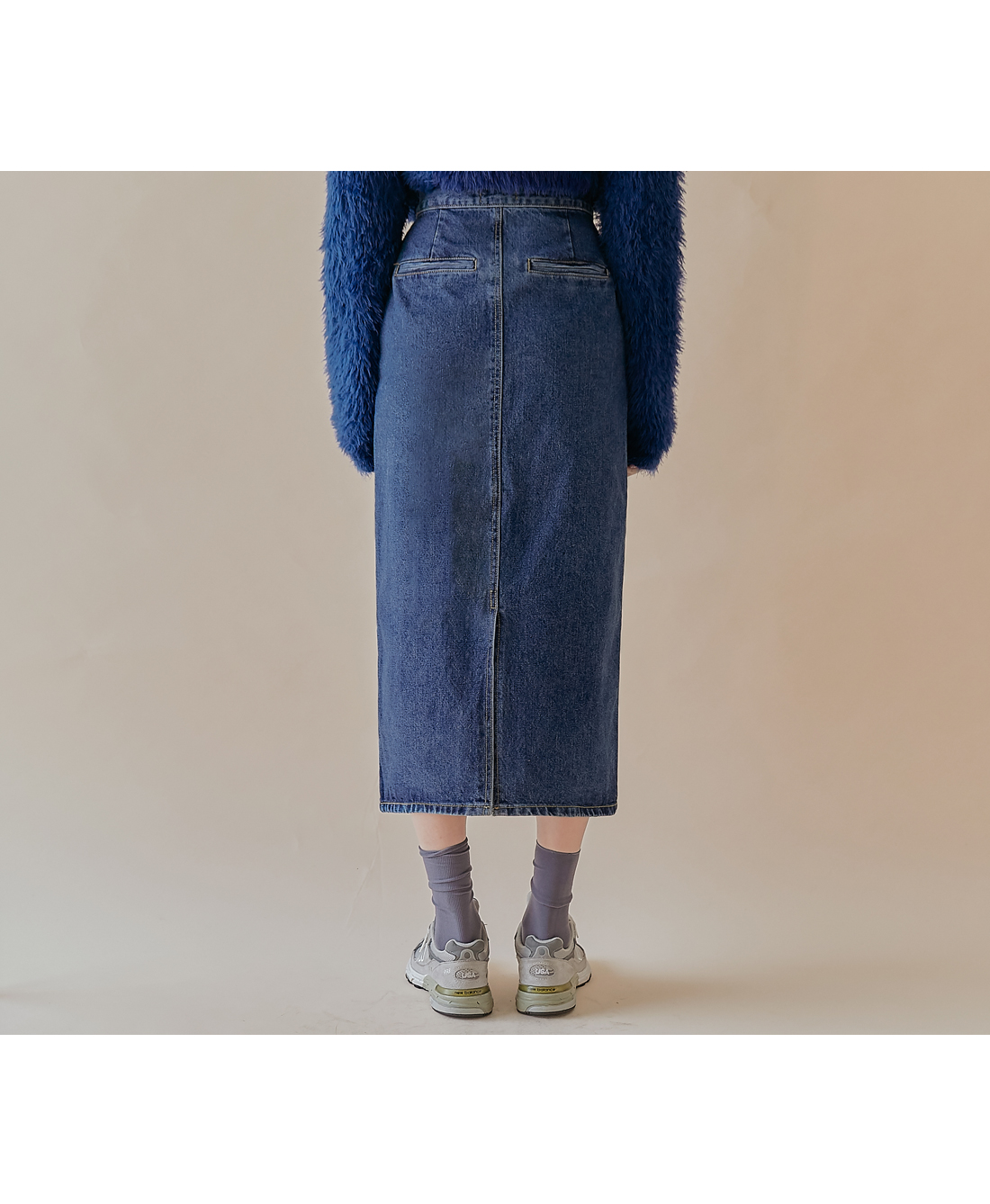 LAMP SLIT DENIM LONG SKIRT