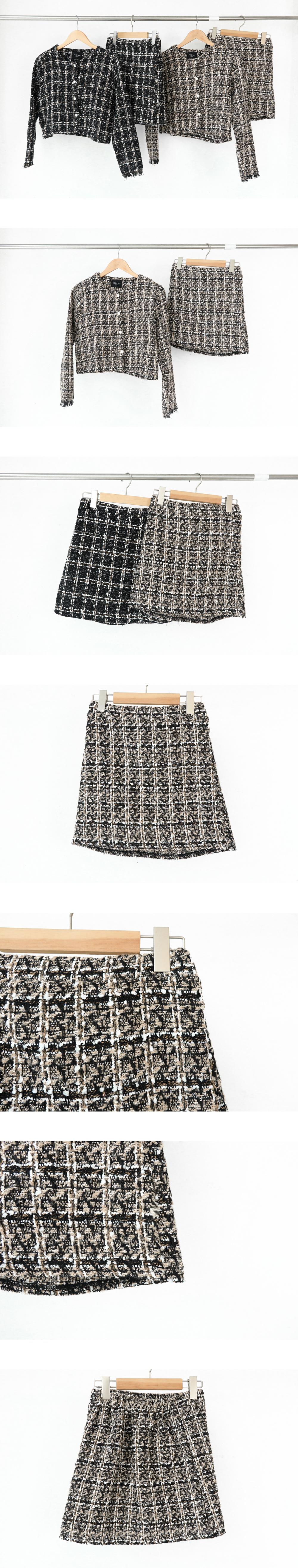 珍珠格紋短裙