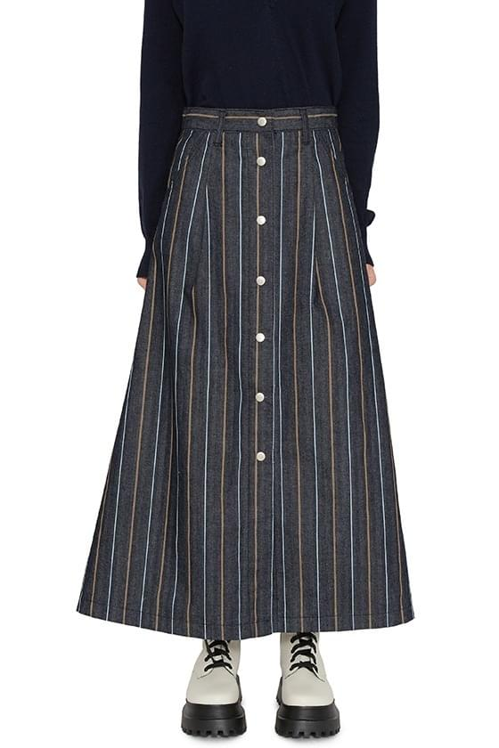 All-stripe buttoned maxi skirt