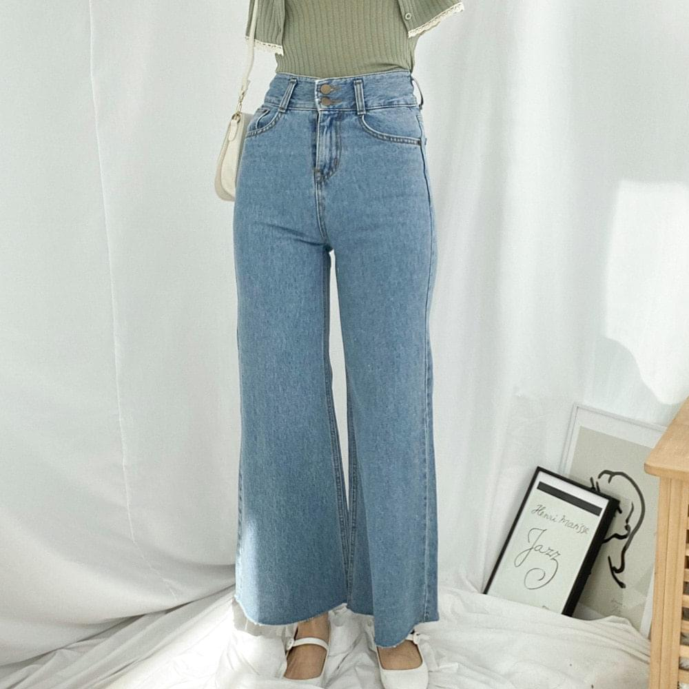 576 two-button wide bootcut denim pants