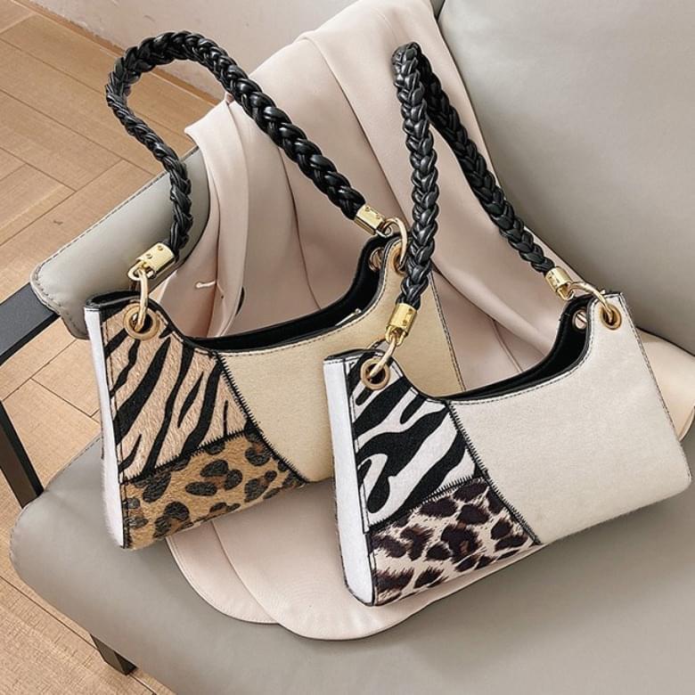Urban Bros Puzzle Leopard Shoulder Leather Bag