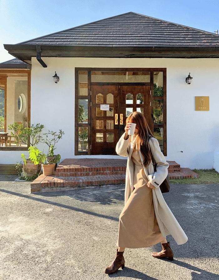Irene suede pintuck long dress