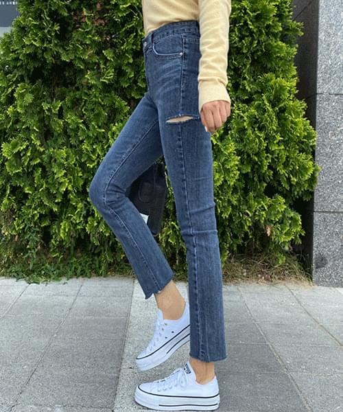 Dark Blue Thigh Split Slim Jeans
