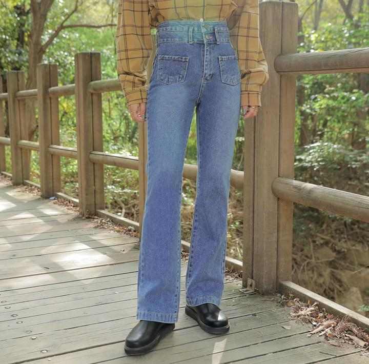 Double Button Front Bootcut Jeans