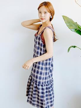Check Frill Bustier Potts Dress