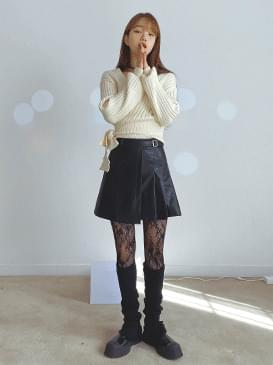 Pleated Leather Mini Skirt