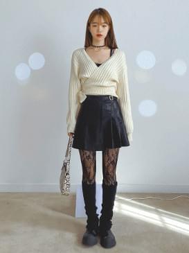 Wrap shorty knit cardigan