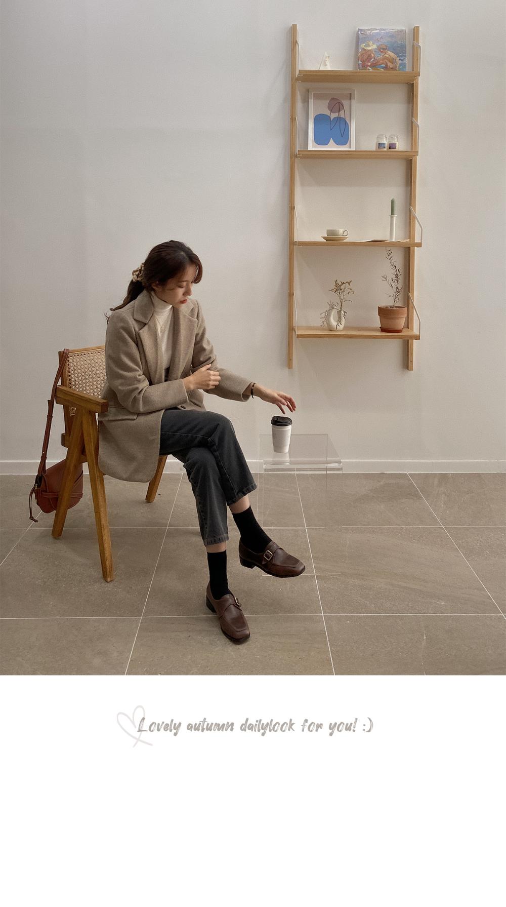 Simple Herringbone Jacket-Wool 50