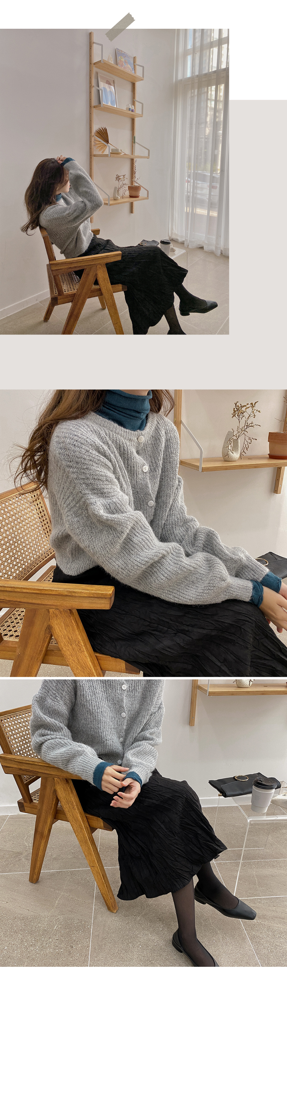 Round Mohair Crop Cardigan-3color