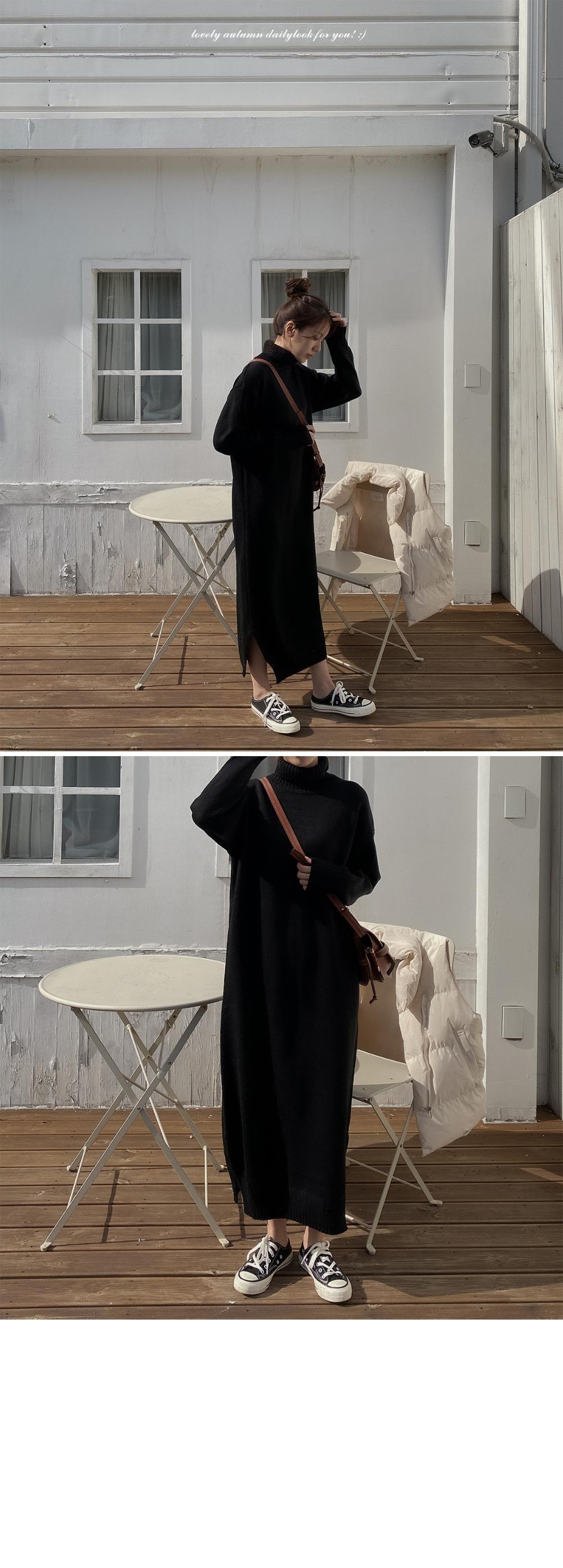 Polar Knit Long Dress-3color