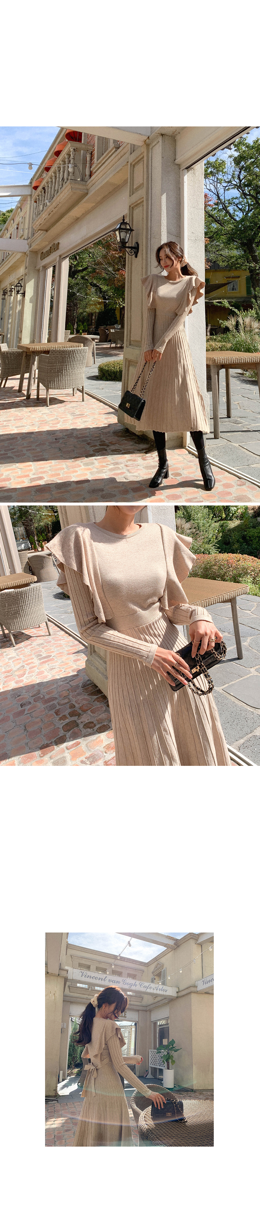 Innocent Gauge Frill Pleated Knit Dress