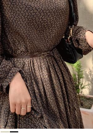 Calm and pretty flower long dress + belt SET