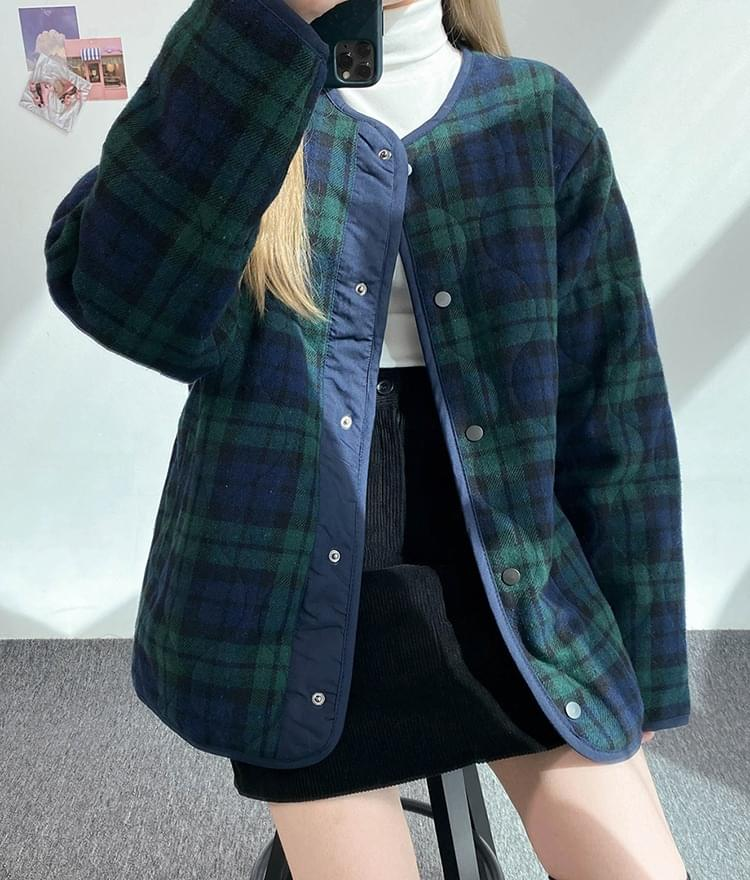 NEVERM!NDRound Neck Check Quilted Jacket