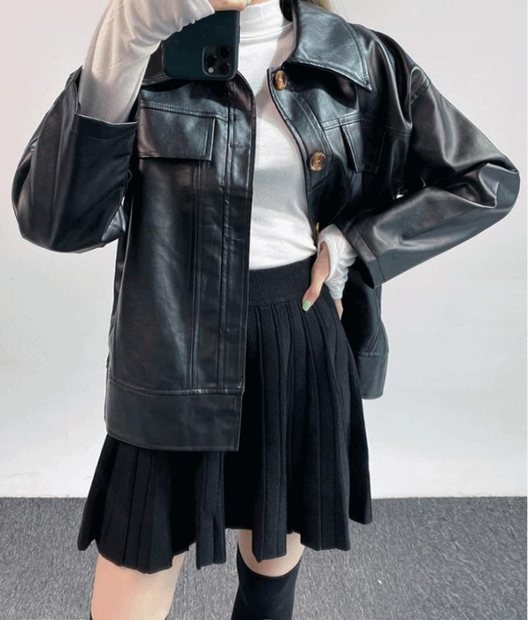 Leatherette Boxy Jacket 夾克外套