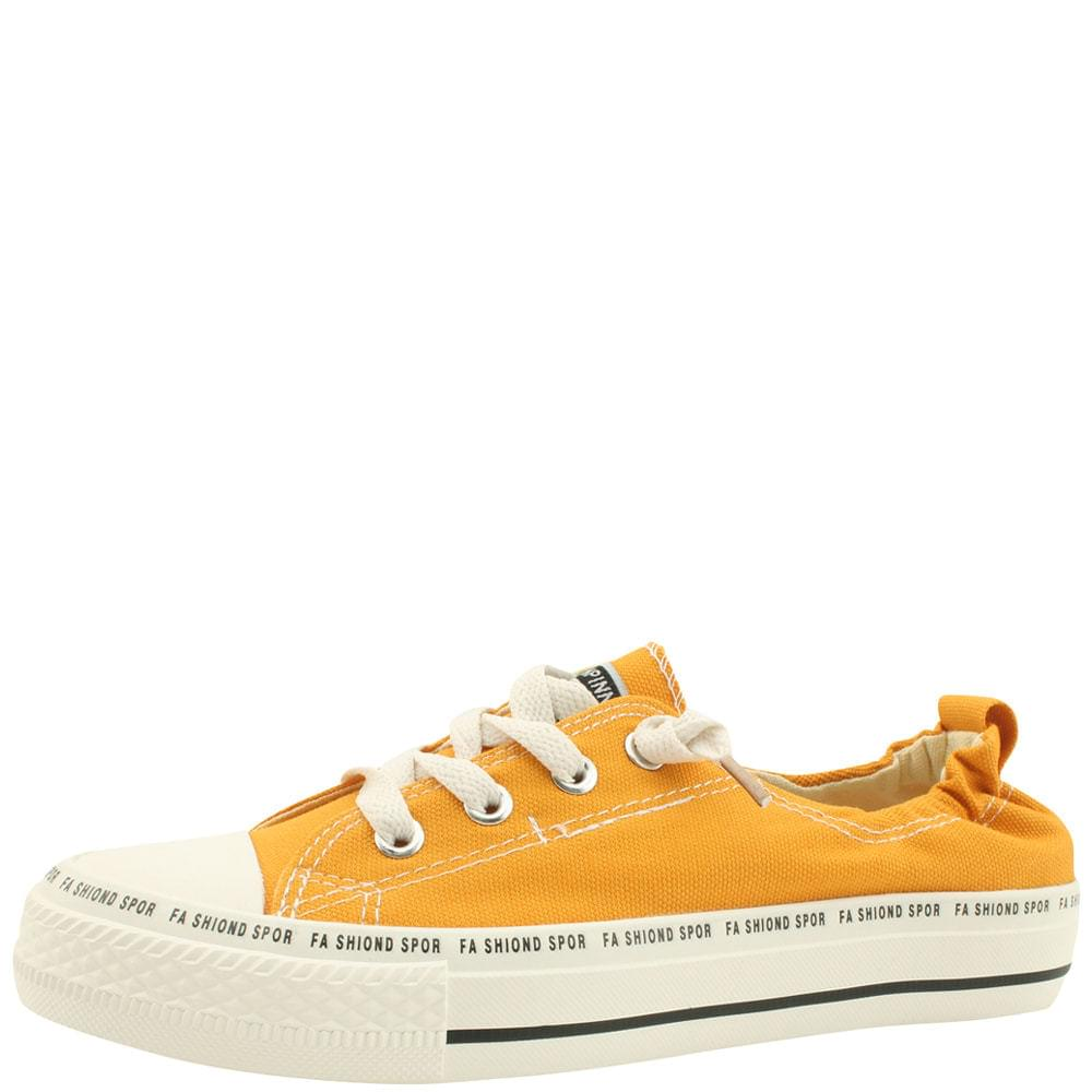 Low-Top Canvas Casual Sneakers Yellow